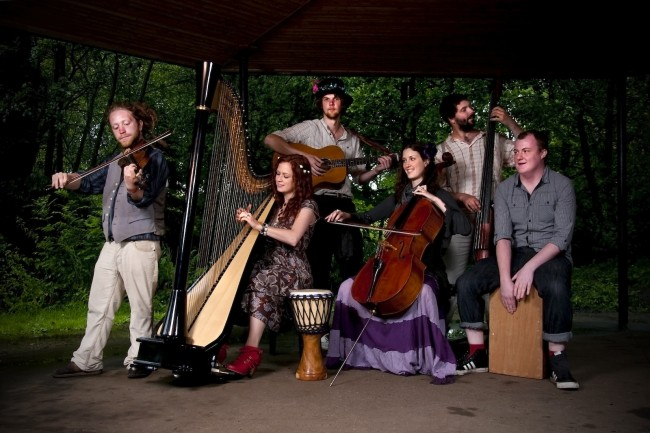 Socks Ahoy! Rachael and the Red Socks perform jazzy folk songs with voices, harp, cello, violin, bass, guitar and percussion.