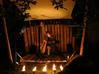 Rachael Gladwin plays harp in the Fire Gardens at Festival No 6, 2012