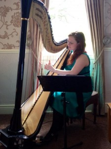 Rachael Gladwin Harpist playing for an Easter Wedding at Singleton Lodge, Lancashire