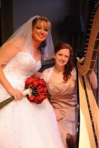 Wedding harpist with bride