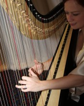 Testimonials: Wedding harp music in brown and gold dress to match the theme