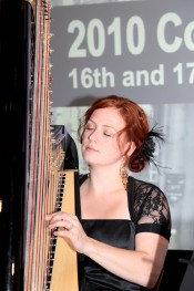 Testimonials: Rachael Gladwin harpist playing harp for a conference dinner